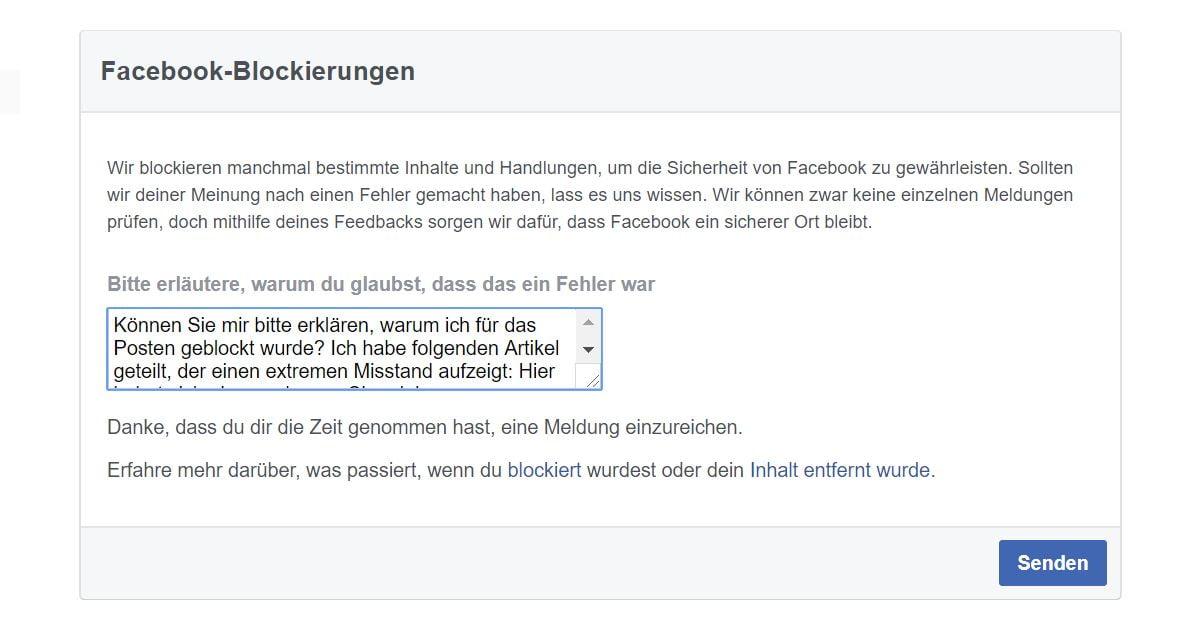 Facebookblockierungen