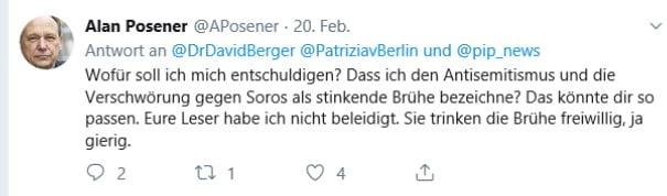 Alan Posener (Welt) ist von einer Verschwörung gegen George Soros überzeugt