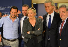 Salvini (Lega Nord), Vilimsky (FPÖ), Le Pen (FN), Wilders (PVV), Annemans (VB)