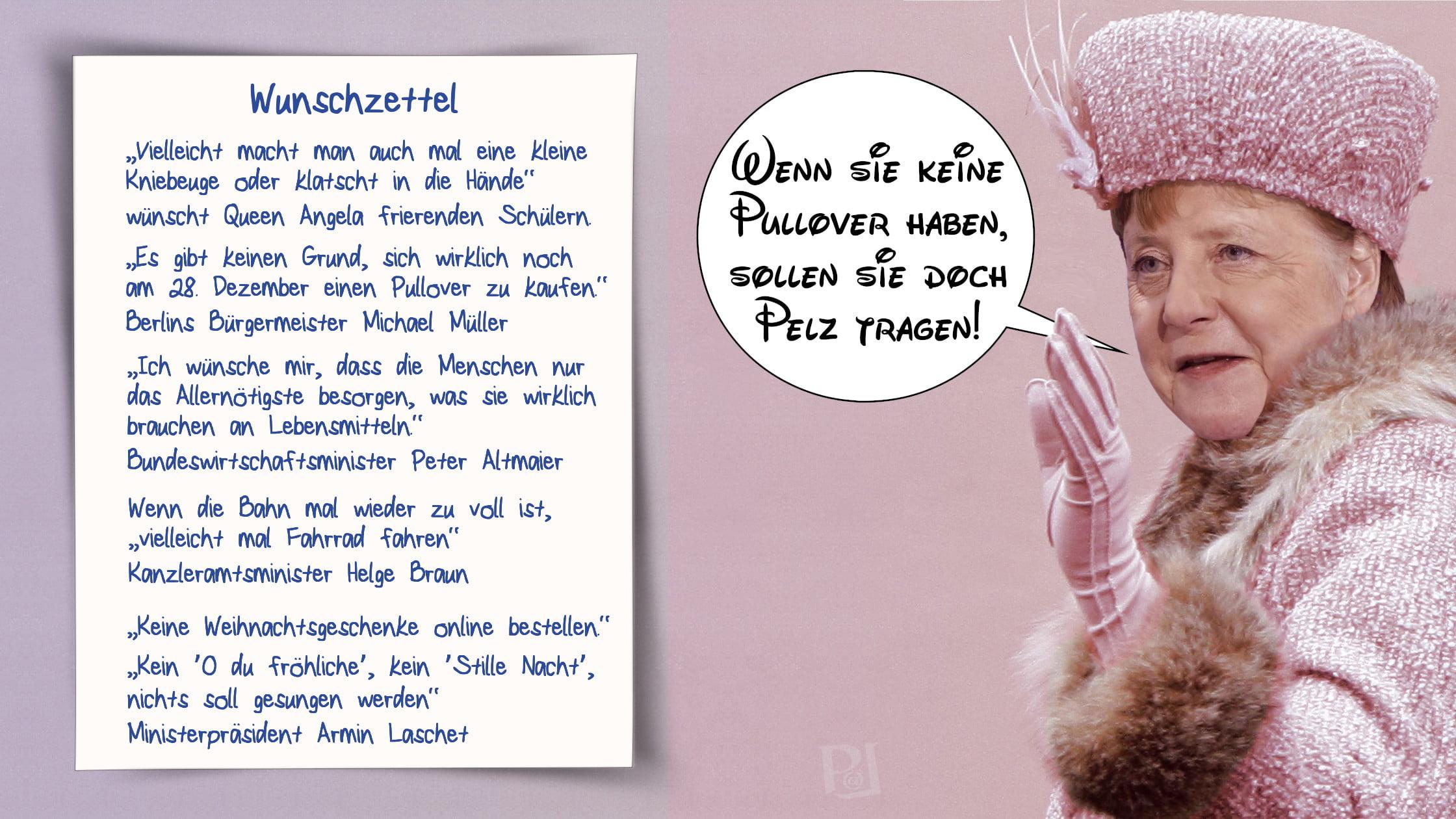 Angela Merkel als dekadente Königin macht peinliche Zitate
