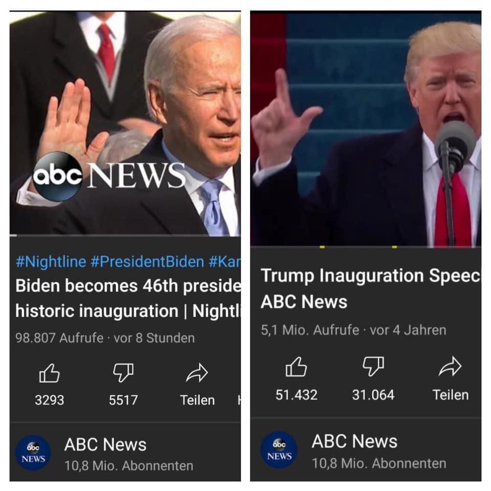 Vergleich der Likes bei Bidens und Trumps Amtseinführung