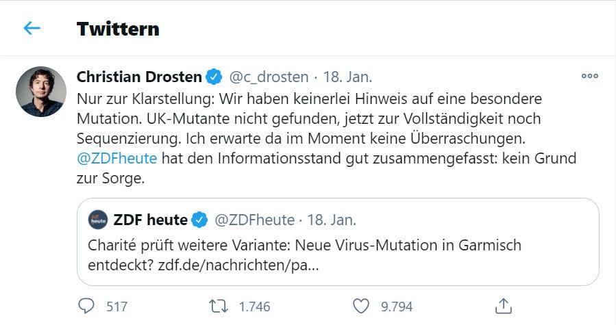 Drosten äußert sich auf Twitter zu den angeblichen Mutationen