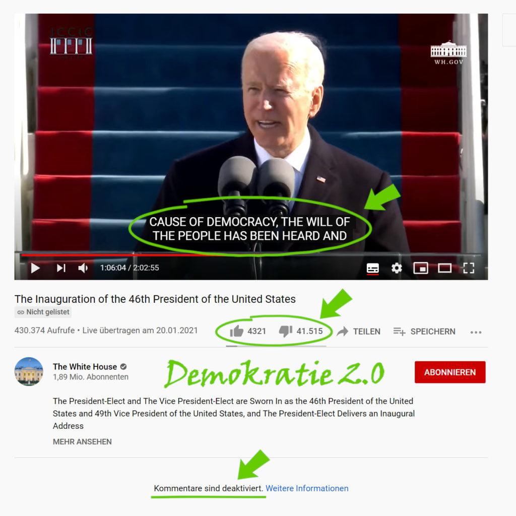 Die Amtseinführung Bidens auf Youtube