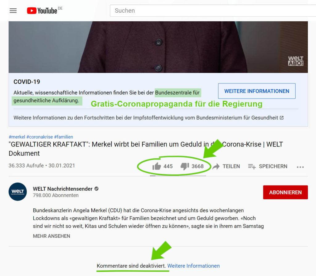Screenshot von Merkels Youtubeauftritt
