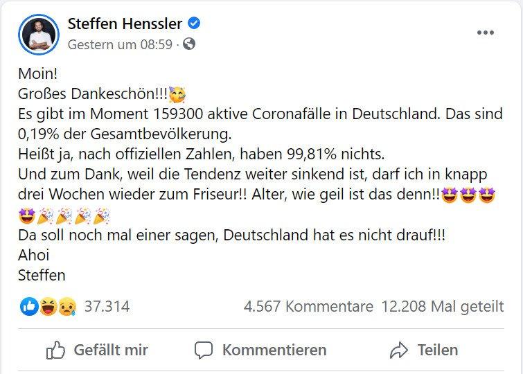 Steffen Henssler äußert bei Facebook seinen Unmut über die Coronapolitik