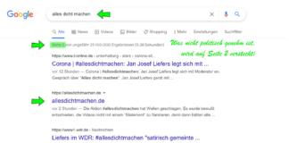 Wie die Aktion #allesdichtmachen bei Google und Co heruntergespielt wird.