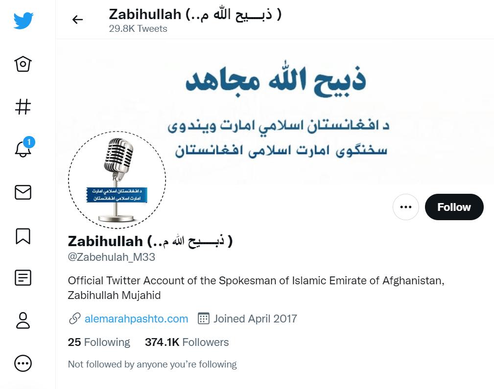 Talibansprecher Zabiullah Mujahid bei Twitter