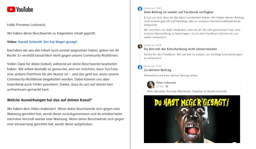Youtube und Facebook entschuldigen sich für Löschung